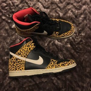Nike Leopard Hot Pink and Black High Tops 8.5